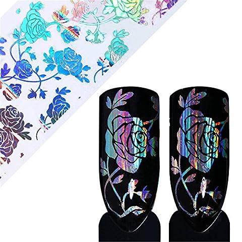 Born Pretty 4 * 100cm Holo Starry Nail Foil Rose Flower Lace Manicure Nail Art Transfer Sticker