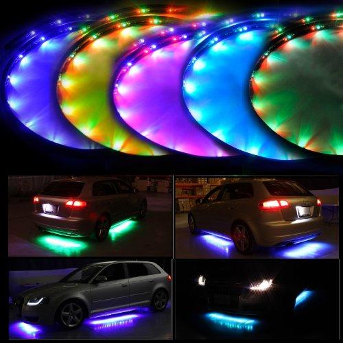 """Lychee de 7 colores LED Bajo Glow coche del sistema de luces de neón de los bajos Kit w / Sonido Función activa y Control remoto inalámbrico (48 """"x 2 y 36"""" x 2)"""