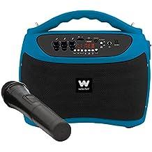 Woxter ROCK'N'GO BLUE, Altavoces portátiles de 40 W (USB, Bluetooth, tarjeta de Memoria , Función Karaoke, 1 micrófono inalámbrico incluido), color azul