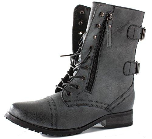 shoeFashionista - Enfants Filles Bottes à lacets Militaire Vintage Chaussures Plates Bottines Lacets Taille Style A - Noir distressed