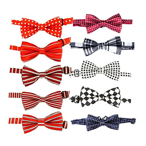 (Itplus 10 PCS Haustier Hund Katze Einstellbare Halsband Bow Ties Bowknotmädchen Jungen Krawatte für Hochzeit Grooming Zubehör)
