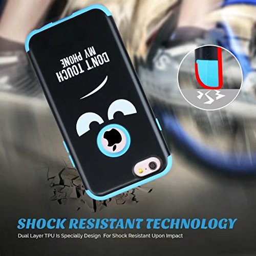iPhone 6S Hülle, Lantier Shockproof Dual Layer Armor Hybrid High Impact Heavy Duty Protection PC Silicone Rugged Case für Apple iPhone 6 6S 4.7inch DON'T TOUCH MY PHONE Blau