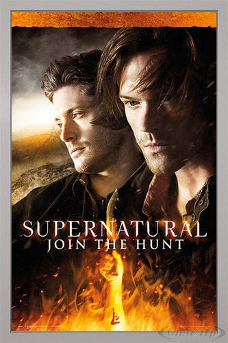 Close Up Supernatural Poster Fire (66x96,5 cm) gerahmt in: Rahmen Silber