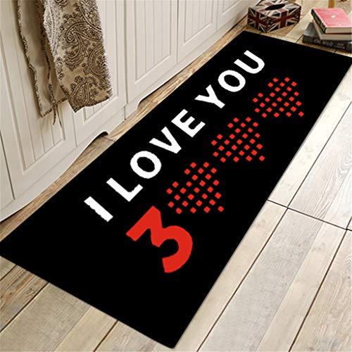 Carpet_Chshech Liebe Dich Dreitausend Mal Muster Quadrat Fläche Teppich Küche Badezimmer Kinder Zimmer Teppich, Teppiche Anti-Rutsch YogaTeppich Für Wohnzimmer Schlafzimmer Teppiche 60X180Cm -