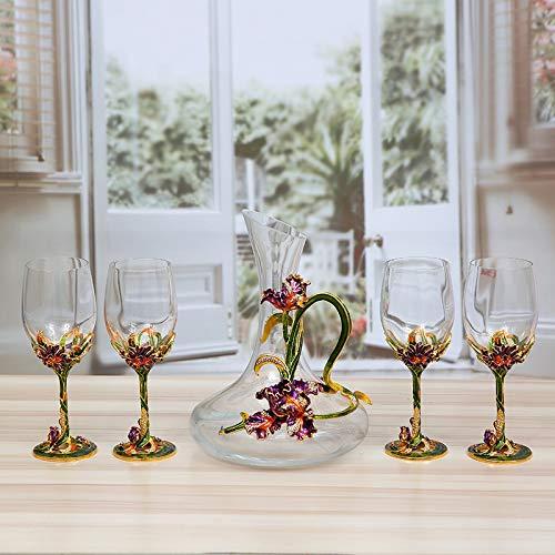 Gifts_Personal Iris Flower Set de verres à vin rouge sans plomb, ensemble de cinq pièces (Light Cup 6.5 * 21.5)