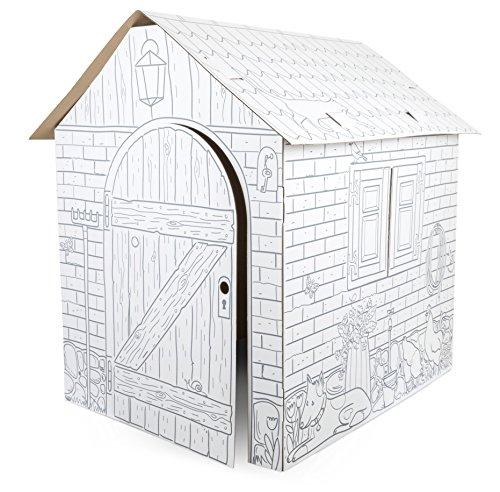 Spielhaus aus Bastelkarton, Papphaus mit Bauernhof-Tiermotiven, individuell mit Wachsmal-, Filz- und...