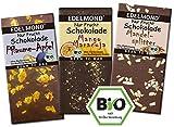 Edelmond NUR FRUCHT 3er Schokoladen-Paket - Ohne Zuckerzusatz mit Bio fair-trade Kakaobohnen. Rohkost-Früchte Tafel Zartbitter