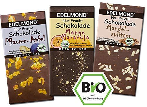 Edelmond NUR FRUCHT 3er Schokoladen Set - Ohne Raffinerie Zuckerzusatz. Bio fair-trade Kakaobohnen. Rohkost-Früchte Tafel Zartbitter