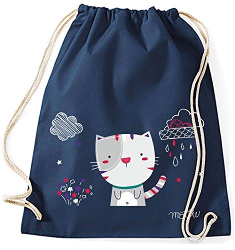 Jutebeutel Turnbeutel Sportbeutel Stofftasche Baumwolltasche Tasche Rucksack mit Kordel Gymsack Cat Katze Meow (Lila) Navy