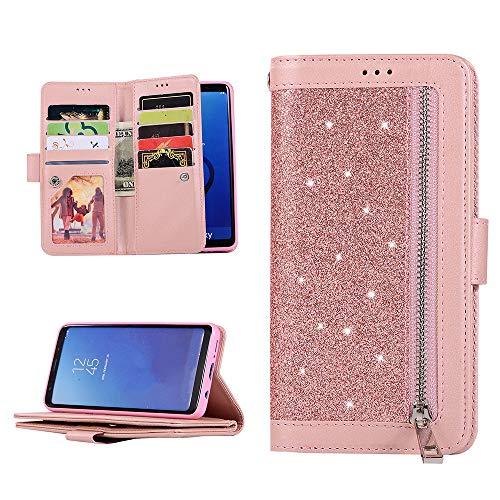 Elettronica per veicoli Accessori QC-EMART Cover per Samsung Galaxy Note 9 Custodia in Pelle Rosa Glitter Paillette Luccichio Farfalla Portafoglio Porta Carta Guscio Caso Case Protettiva Custodie Cellulari per Ragazza