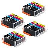 20 Druckerpatronen für Canon PGI-550 XL CLI-551 XL mit Chip kompatibel für IP7200 IP7250 IX6800 IX6850 MG5400 MG5450 MG5550 MG5600 MG5650 MG5655 MG6400 MG6450 MG6600 MG6650 MX720 MX725 MX920 MX925