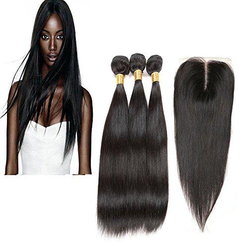 """Yiya Kinky Curl Brasilianisch Virgin Echthaar 3 Bundles Haar Tressen und 1 Freien Teil Lace Closure Fur Machen Sie eine Perücke #1B 14"""",16"""",18""""+10"""" Closure"""