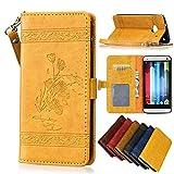 HTC M7 Hülle,HTC M7 Schutzhülle, Alfort Retro Öl Wachs Muster geprägte Schnalle PU Leder + TPU Hülle Innere Magnetverschluss Flip Case Wallet Case für HTC M7 4,7