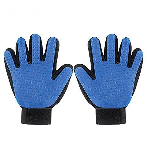 Haustier Bürste Handschuh,Addfun®Hund Pflegen Handschuh Sanft und Effizient Handschuh Haarentferner Bürste Saubere Massage Handschuhe(2 PCS,rechts+linke Hand)