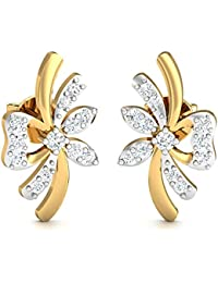 Stylori 18k Yellow Gold and Diamond Butterfly Like Stud Earrings