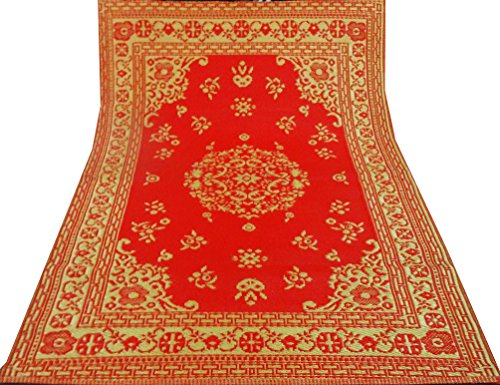 tappetino rosso decorativo motivo floreale grande spiaggia picnic tappeto straccio