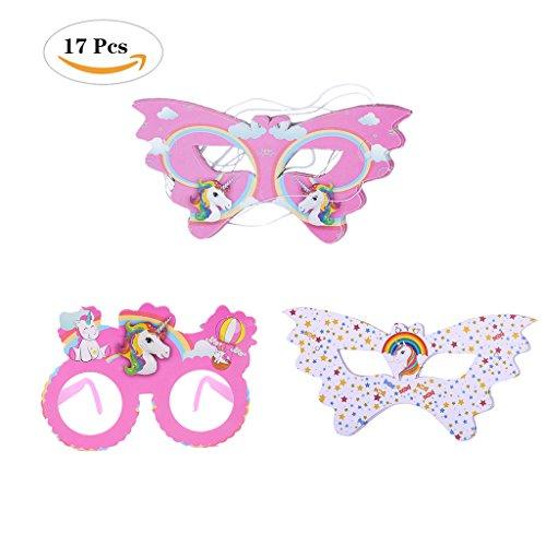 Schmetterling Form Einhorn Augenmaske Kindermasken Einhorn Muster Einhorn Masken Set für Weihnachten und Geburtstag Party ,10 Rosa Masken +6 Weiß Masken+1 Einhorn Brille . (Schmetterlings Masken Für Kinder)