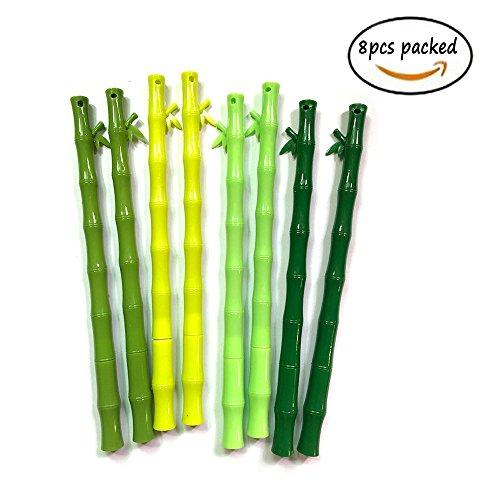 Bambus gemeinsame Pen 8verpackt Creative Cartoon Green Leaf Wasser schwarz Unterzeichnung Pen 0,5mm Slim Refill 15,8cm lange Office Decor Student Schule Gelb Pen