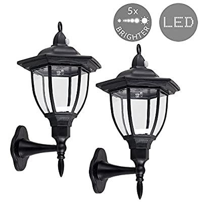 Set of 2 - Outdoor Solar Powered LED Black Wall Mounted Garden Coach Lantern Lights with PIR Motion Sensor - inexpensive UK light shop.