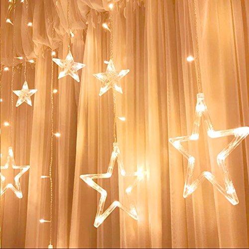LED Lichtervorhang Lichterkette, KINGWILL 12 Sterne 138pcs LED Fenstervorhang Lichter Mit 8 Blinkenden Modi, Dekoration f¨¹r Weihnachten, Hochzeit, Party, Haus, Terrasse Rasen, Warmes Weiß
