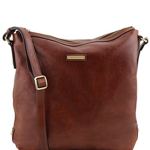 Tuscany Leather Alice - Sac cabas en cuir pour femme - TL141480 (Rouge) Marron