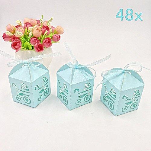 6. JZK 48 X Blau Pearly Papier Süßigkeiten Schachtel Gastgeschenk  Geschenkbox, Tischdeko Für Junge G..