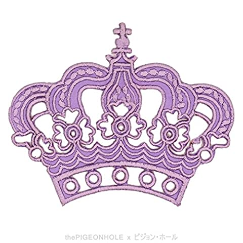[ Dream Big, Princess ] Purple Royal Crown - Clip Art Iron On, Sew On Embroidered Patch - Gift, Travel Souvenir, Collectible, Décor