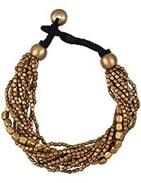 81stgeneration Gold Ton Farbe Messing Kleine Gemischte Perlen 12 Strang Armband