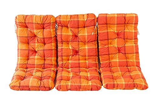 Ambientehome 3er Set Hochlehner Auflage Kissen Hanko Maxi, kariert orange, ca 120 x 50 x 8 cm,...