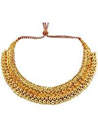 Tejas Immitation Jewellery Traditional Golden Ethinic Wedding Choker Kolhapuri Necklace For Women And Girls