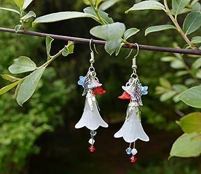 Boucles d'oreilles Marianne, rouge blanc et bleu avec cristaux Swarovski - bijoux drapeau français - patriotique - bijoux pour bastille 14 juillet fête nationale