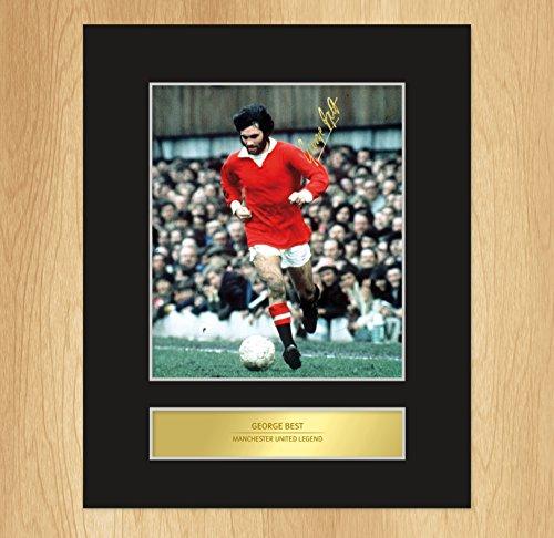 My Prints - Foto incorniciata da esposizione con autografo di George Best, leggenda del Manchester United