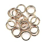Round Carabiner Clip 20 Pcs O Spring Loaded Gate Lock Clips Hook Key ring Buckle (Gold)