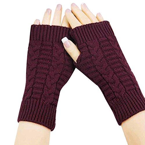 TWIFER Mode Gestrickt Arm fingerlose Winter Handschuhe Damen Weichen Warmen Fäustlinge (Freie Größe, Rot)
