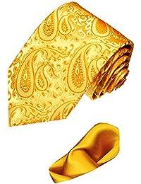 Lorenzo Cana - Marken 2 er Set aus 100% Seide - Goldene Paisley Krawatte mit uni Einstecktuch aus Seide - 8441501