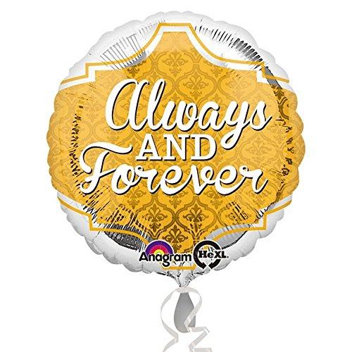 Preisvergleich Produktbild Amscan Folien-Ballon mit Aufschrift Always & Forever, rund (Einheitsgröße) (Gold/Silber)