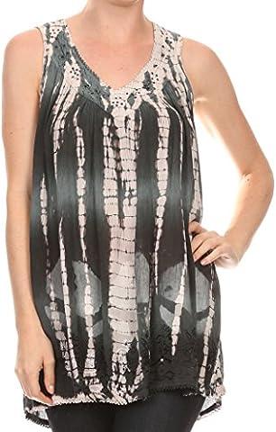 Sakkas 11632 - Kalelay Long Tall Sleeveless Tie Dye Embroidered Tank Top Blouse Shirt - Dark Gray - OS