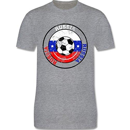 EM 2016 - Frankreich - Russia Kreis & Fußball Vintage - Herren Premium T-Shirt Grau Meliert