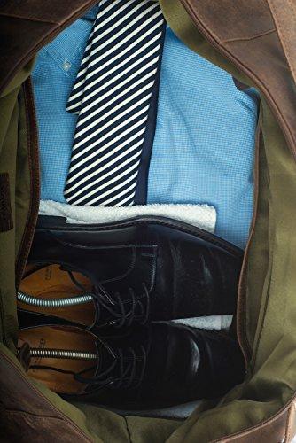 """Leabags Dubai - Borsa da viaggio """"cabin size"""", in vera pelle di bufalo, effetto vintage Marrone (marrone)"""