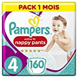 Pampers - Active Fit Pants - Couches-culottes Taille 4 (9-15 kg) - Pack 1 Mois (x160 culottes)