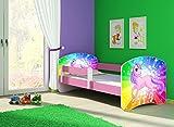 Infantasie 'Junior Pink' Motiv Kinderbett Komplett Set 140 x 70 cm inkl. Matratze und Lattenrost, Kantenschutzleisten umlaufend, extra Rausfallschutz Seitenteil (verstellbar), Seitenteile: Pink, Design: 18 Einhorn Regenbogen