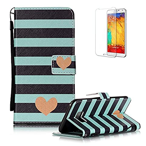 For Samsung Galaxy S8 Case [with Free Screen Protector], Funyye Stylish Vintage Pattern Magnetic PU Leather Wallet Case with [Lanyard Strap] and [Credit Card Holders Slots] Protection Case for Samsung Galaxy S8 -Stripes Love