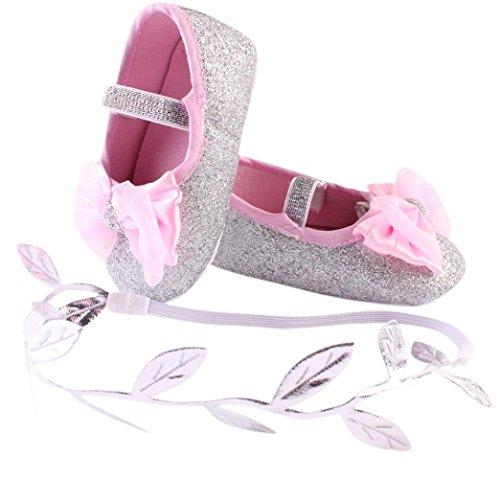 FEITONG Baby Blumen Turnschuh Gleitschutzhand weiches Kleinkind Shoes + 1pc Haarband (13, Gold) Silber