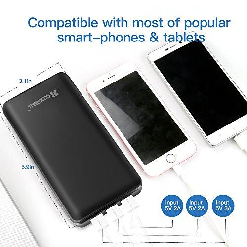 20000-mAh-Batera-Externa-Movil-Porttil-Coolreall-Power-Bank-Cargador-Porttil-3-Puertos-Cargador-Movil-Porttil-Carga-Rpida-para-iPhone-7iphone-6-6s-y-Otros-Dispositivos-USB-3A-Salida-Negro