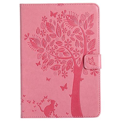 Custodia iPad Mini 2, iPad Mini 3 Flip Case Leather, SainCat Custodia in Pelle Cover per iPad Mini 1/2/3, Anti-Scratch Book Style Protettiva Caso PU Leather Flip Portafoglio Custodia Libro Protettiva  Rosa