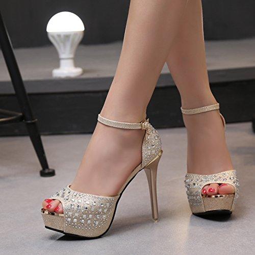 12cm super - sandalen hochzeit schuhe,goldene wasser ()