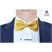 """Noeud papillon (tissu) - """"Okayama"""" - motif japonais jaune - Fabriqué en France par Woodiny"""