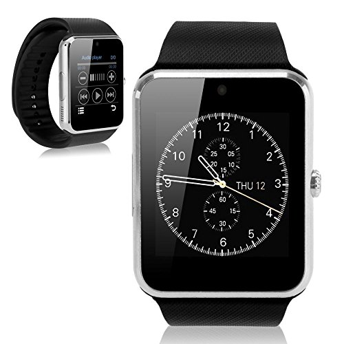 GENORTH® GT08 Bluetooth Smart Watch indossabile Smart Health Orologio da polso Telefono con slot per scheda SIM per Android Samsung HTC LG (Tutte le funzioni) IOS iPhone 5/5s/6/plus (Parte delle funzioni) (Argento)