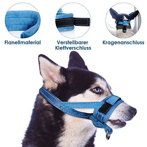 SlowTon Hundemaulkorb aus Nylon, verstellbare Schlaufe, weiche Flanellauflage, Bequeme, atmungsaktive, sichere, schnelle Passform für kleine, mittelgroße Hunde (L, Blau)