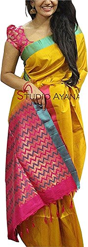 Clothsfab Women's Bhagalpuri Silk Ready Pleated Saree (Ab-Yellow Pink_Pink)  available at amazon for Rs.499